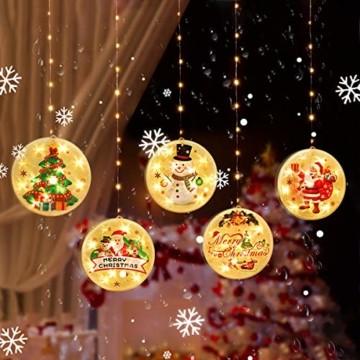 Weihnachtsvorhang LED-Lichterkette - 1,5 m x 0,5 m LED Lichtervorhang Fensterdekoration USB Hängeleuchte für Weihnachtsbaumdekoration, Wohnkultur, Schlafzimmer Außen Innen Fenster (warmweiß) - 1