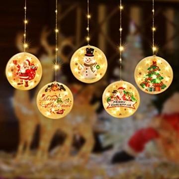 Weihnachtsvorhang LED-Lichterkette - 1,5 m x 0,5 m LED Lichtervorhang Fensterdekoration USB Hängeleuchte für Weihnachtsbaumdekoration, Wohnkultur, Schlafzimmer Außen Innen Fenster (warmweiß) - 6