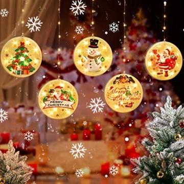 Weihnachtsvorhang LED-Lichterkette - 1,5 m x 0,5 m LED Lichtervorhang Fensterdekoration USB Hängeleuchte für Weihnachtsbaumdekoration, Wohnkultur, Schlafzimmer Außen Innen Fenster (warmweiß) - 7