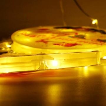 Weihnachtsvorhang LED-Lichterkette - 1,5 m x 0,5 m LED Lichtervorhang Fensterdekoration USB Hängeleuchte für Weihnachtsbaumdekoration, Wohnkultur, Schlafzimmer Außen Innen Fenster (warmweiß) - 9