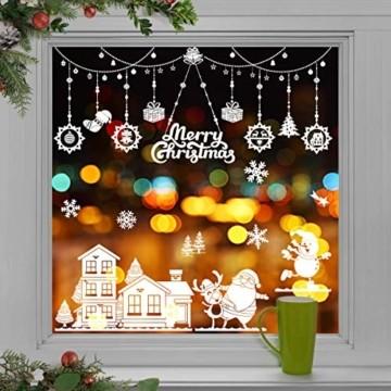 WEYON Weihnachten Fenstersticker, Wiederverwendbar Fensterbilder Selbstklebend Weihnachts Fensteraufkleber Fensterfolie Weihnachtsdekoration aus PVC für Weihnachts Fenster, Vitrinen, Glasfronten - 1