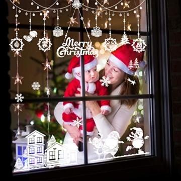 WEYON Weihnachten Fenstersticker, Wiederverwendbar Fensterbilder Selbstklebend Weihnachts Fensteraufkleber Fensterfolie Weihnachtsdekoration aus PVC für Weihnachts Fenster, Vitrinen, Glasfronten - 5