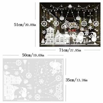 WEYON Weihnachten Fenstersticker, Wiederverwendbar Fensterbilder Selbstklebend Weihnachts Fensteraufkleber Fensterfolie Weihnachtsdekoration aus PVC für Weihnachts Fenster, Vitrinen, Glasfronten - 6
