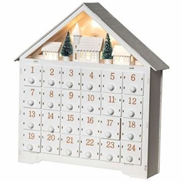 Wichtelstube-Kollektion Adventskalender zum befüllen, Winterdorf weiß XL Fächer, Weihnachtsdeko Holz beleuchtet - 2