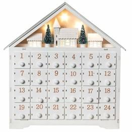 Wichtelstube-Kollektion Adventskalender zum befüllen, Winterdorf weiß XL Fächer, Weihnachtsdeko Holz beleuchtet - 1