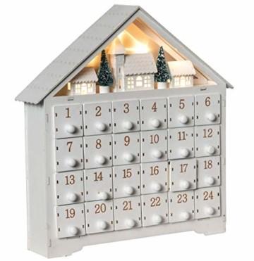 Wichtelstube-Kollektion Adventskalender zum befüllen, Winterdorf weiß XL Fächer, Weihnachtsdeko Holz beleuchtet - 4