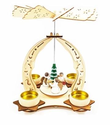 Wichtelstube-Kollektion Holz Teelicht Weihnachtspyramide f. Teelichter Weihnachten Engel Chor H:24cm - 2