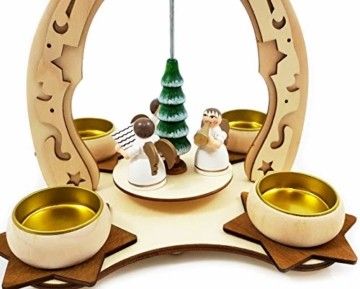 Wichtelstube-Kollektion Holz Teelicht Weihnachtspyramide f. Teelichter Weihnachten Engel Chor H:24cm - 3
