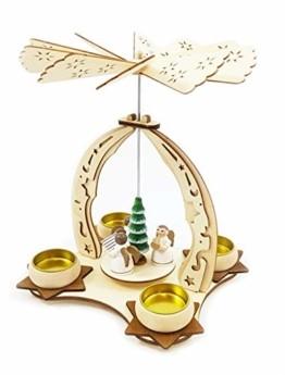 Wichtelstube-Kollektion Holz Teelicht Weihnachtspyramide f. Teelichter Weihnachten Engel Chor H:24cm - 1