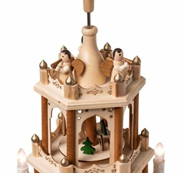 Wichtelstube-Kollektion Holz Weihnachtspyramide mit elektrischem Antrieb und beleuchteten LED Kerzen H:43,5cm - 2