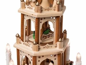 Wichtelstube-Kollektion Holz Weihnachtspyramide mit elektrischem Antrieb und beleuchteten LED Kerzen H:43,5cm - 3