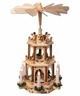 Wichtelstube-Kollektion Holz Weihnachtspyramide mit elektrischem Antrieb und beleuchteten LED Kerzen H:43,5cm - 1