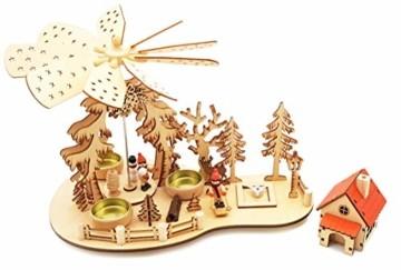 Wichtelstube-Kollektion Weihnachtspyramide Teelichtpyramide mit Räucherhaus Ski Pyramide Weihnachten - 2