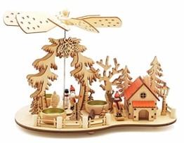 Wichtelstube-Kollektion Weihnachtspyramide Teelichtpyramide mit Räucherhaus Ski Pyramide Weihnachten - 1