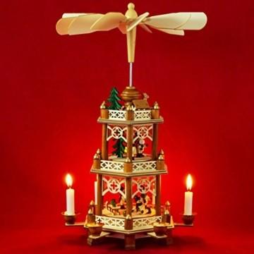 Wichtelstube-Kollektion XL Weihnachtspyramide Winterkinder Original 3 Etagen - 1