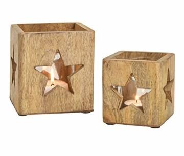 Windlichthalter 2er Set aus Mango Holz - mit Glaseinsatz/im Stern Dekor - Holz Teelicht Halter Kerzenhalter - 1