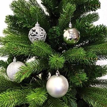 Wohaga 105 Stück Weihnachtskugeln 'Glamour' Christbaumkugeln Baumschmuck Weihnachtsbaumschmuck Baumkugeln, Farbe:Silber - 2