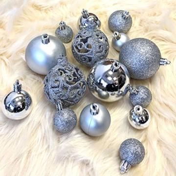 Wohaga 105 Stück Weihnachtskugeln 'Glamour' Christbaumkugeln Baumschmuck Weihnachtsbaumschmuck Baumkugeln, Farbe:Silber - 3