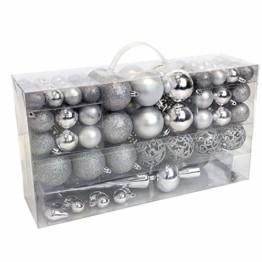 Wohaga 105 Stück Weihnachtskugeln 'Glamour' Christbaumkugeln Baumschmuck Weihnachtsbaumschmuck Baumkugeln, Farbe:Silber - 1