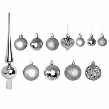 Wohaga 105 Stück Weihnachtskugeln 'Glamour' Christbaumkugeln Baumschmuck Weihnachtsbaumschmuck Baumkugeln, Farbe:Silber - 4