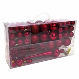 Wohaga 105 Stück Weihnachtskugeln 'Glamour' Christbaumkugeln Baumschmuck Weihnachtsbaumschmuck Baumkugeln, Farbe:Weinrot - 1