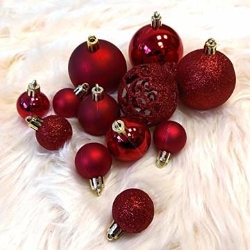 Wohaga 105 Stück Weihnachtskugeln 'Glamour' Christbaumkugeln Baumschmuck Weihnachtsbaumschmuck Baumkugeln, Farbe:Weinrot - 3