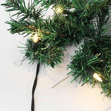 Wohaga Weihnachtsgirlande Tannengirlande Lichterkette 270cm 180 Spitzen 20 Lampen 16 Kugeln Rot - 4