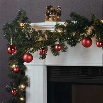 Wohaga Weihnachtsgirlande Tannengirlande Lichterkette 270cm 180 Spitzen 20 Lampen 16 Kugeln Rot - 1