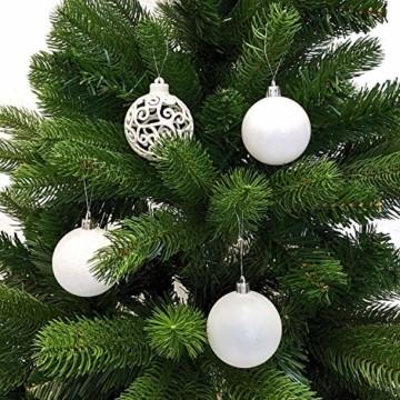Wohaga Weihnachtskugel-Set Christbaumkugeln Baumschmuck Weihnachtsbaumschmuck Baumkugeln, Farbe:Weiss, Größe:50 - 3