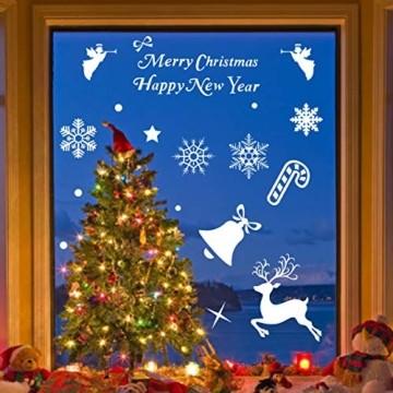 Wokkol Fensterbilder Weihnachten Selbstklebend, Schneeflocken Fensterdeko, Fensterbild Weihnachten, Weihnachts Fensterbilder, für Türen Schaufenster Vitrinen Glasfronten(8 Stück - 2 Stilrichtungen) - 2