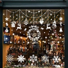 Wokkol Fensterbilder Weihnachten Selbstklebend, Schneeflocken Fensterdeko, Fensterbild Weihnachten, Weihnachts Fensterbilder, für Türen Schaufenster Vitrinen Glasfronten(8 Stück - 2 Stilrichtungen) - 1