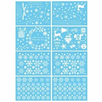 Wokkol Fensterbilder Weihnachten Selbstklebend, Schneeflocken Fensterdeko, Fensterbild Weihnachten, Weihnachts Fensterbilder, für Türen Schaufenster Vitrinen Glasfronten(8 Stück - 2 Stilrichtungen) - 4