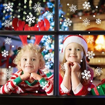 Wokkol Fensterbilder Weihnachten Selbstklebend, Schneeflocken Fensterdeko, Fensterbild Weihnachten, Weihnachts Fensterbilder, für Türen Schaufenster Vitrinen Glasfronten(8 Stück - 2 Stilrichtungen) - 5