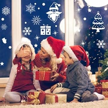 Wokkol Fensterbilder Weihnachten Selbstklebend, Schneeflocken Fensterdeko, Fensterbild Weihnachten, Weihnachts Fensterbilder, für Türen Schaufenster Vitrinen Glasfronten(8 Stück - 2 Stilrichtungen) - 6