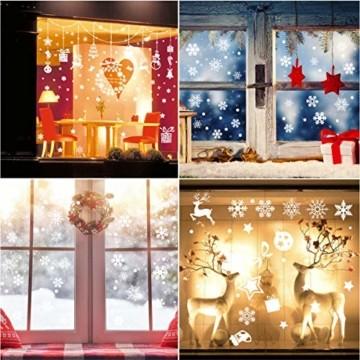 Wokkol Fensterbilder Weihnachten Selbstklebend, Schneeflocken Fensterdeko, Fensterbild Weihnachten, Weihnachts Fensterbilder, für Türen Schaufenster Vitrinen Glasfronten(8 Stück - 2 Stilrichtungen) - 7