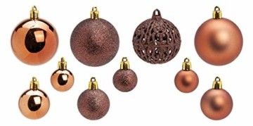 WOMA Christbaumkugeln Set in 14 weihnachtlichen Farben - 50 & 100 Weihnachtskugeln Braun Kupfer aus Kunststoff - Gold, Silber, Rot & Bronze/Kupfer UVM. - Weihnachtsbaum Deko & Christbaumschmuck - 2