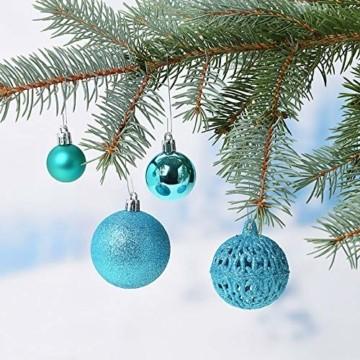 WOMA Christbaumkugeln Set in 14 weihnachtlichen Farben - 50 & 100 Weihnachtskugeln Türkis Blau aus Kunststoff - Gold, Silber, Rot & Bronze/Kupfer UVM. - Weihnachtsbaum Deko & Christbaumschmuck - 2