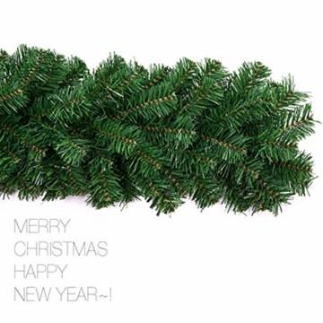 Xinlie Tannengirlande Künstliche Grün Tannen Weihnachtsgirlande Tannengirlande aus Kunststoff Für Outdoor Türkranz Pfingstrose Rebe Blumenkranz Künstliche Dekorative Landschaftsbau Kranz 2.7m(1 PCS) - 3