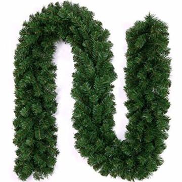 Xinlie Tannengirlande Künstliche Grün Tannen Weihnachtsgirlande Tannengirlande aus Kunststoff Für Outdoor Türkranz Pfingstrose Rebe Blumenkranz Künstliche Dekorative Landschaftsbau Kranz 2.7m(1 PCS) - 1