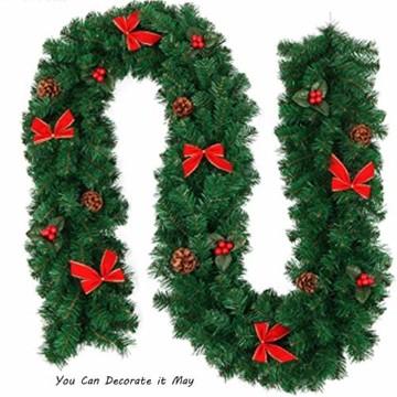 Xinlie Tannengirlande Künstliche Grün Tannen Weihnachtsgirlande Tannengirlande aus Kunststoff Für Outdoor Türkranz Pfingstrose Rebe Blumenkranz Künstliche Dekorative Landschaftsbau Kranz 2.7m(1 PCS) - 7