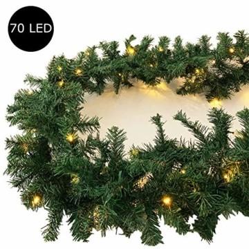 XL Weihnachtsbeleuchtung Girlande beleuchtet Tannengirlande 70 LED Lichterkette 540 cm Weihnachten innen und außen - 2