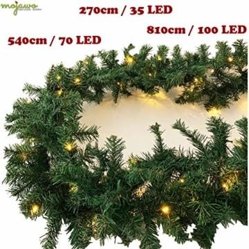 XL Weihnachtsbeleuchtung Girlande beleuchtet Tannengirlande 70 LED Lichterkette 540 cm Weihnachten innen und außen - 4