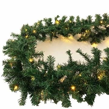 XL Weihnachtsbeleuchtung Girlande beleuchtet Tannengirlande 70 LED Lichterkette 540 cm Weihnachten innen und außen - 1