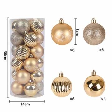 YILEEY Weihnachtskugeln Weihnachtsdeko Set Gold 24 STK in 4 Farben, Kunststoff Weihnachtsbaumkugeln Box mit Aufhänger Christbaumkugeln Plastik Bruchsicher, Weihnachtsbaumschmuck, MEHRWEG - 3