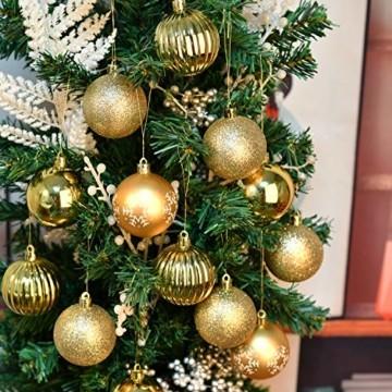 YILEEY Weihnachtskugeln Weihnachtsdeko Set Gold 24 STK in 4 Farben, Kunststoff Weihnachtsbaumkugeln Box mit Aufhänger Christbaumkugeln Plastik Bruchsicher, Weihnachtsbaumschmuck, MEHRWEG - 5