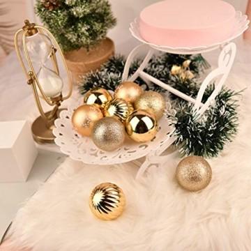 YILEEY Weihnachtskugeln Weihnachtsdeko Set Gold 24 STK in 4 Farben, Kunststoff Weihnachtsbaumkugeln Box mit Aufhänger Christbaumkugeln Plastik Bruchsicher, Weihnachtsbaumschmuck, MEHRWEG - 7