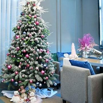 YILEEY Weihnachtskugeln Weihnachtsdeko Set Rosa 101 STK in 9 Farben, Kunststoff Weihnachtsbaumkugeln Box mit Aufhänger Christbaumkugeln Plastik Bruchsicher, Weihnachtsbaumschmuck, MEHRWEG - 2