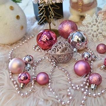 YILEEY Weihnachtskugeln Weihnachtsdeko Set Rosa 101 STK in 9 Farben, Kunststoff Weihnachtsbaumkugeln Box mit Aufhänger Christbaumkugeln Plastik Bruchsicher, Weihnachtsbaumschmuck, MEHRWEG - 3