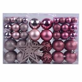 YILEEY Weihnachtskugeln Weihnachtsdeko Set Rosa 101 STK in 9 Farben, Kunststoff Weihnachtsbaumkugeln Box mit Aufhänger Christbaumkugeln Plastik Bruchsicher, Weihnachtsbaumschmuck, MEHRWEG - 1