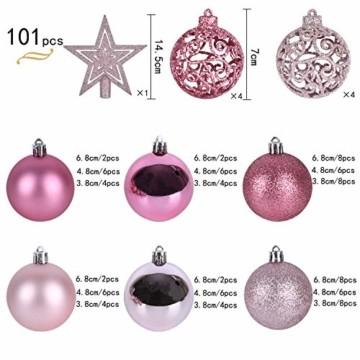 YILEEY Weihnachtskugeln Weihnachtsdeko Set Rosa 101 STK in 9 Farben, Kunststoff Weihnachtsbaumkugeln Box mit Aufhänger Christbaumkugeln Plastik Bruchsicher, Weihnachtsbaumschmuck, MEHRWEG - 4